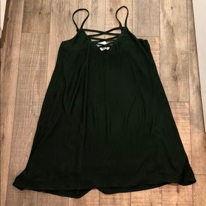 Forest Green Ribbed Shift Mini Dress